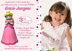Super Mario Bross Princess Peach Custom Birthday Invitation