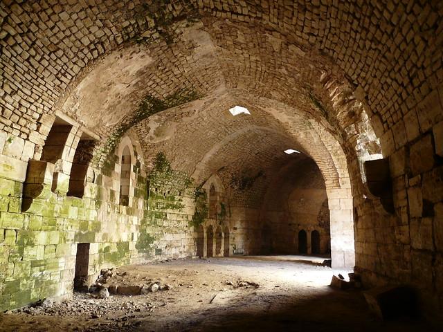 Ciudadela interior en el Crac de los Caballeros ( Krak des Chevaliers ). Fortaleza de los cruzados en Siria