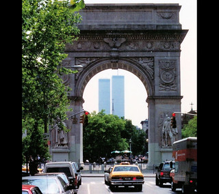 This is not Tucson, Arizona (All symbols are vunerable). View on Washington Square, Manhattan, 1993