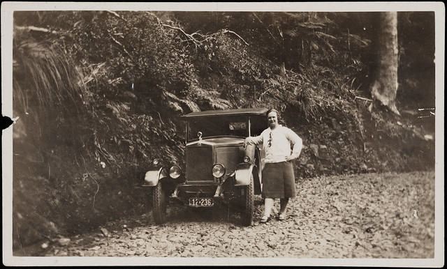 Mabel Voss and her Morris Cowley, 1929