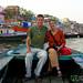 Audrey & Dan During a Dusk Boat Ride in Varanasi, India