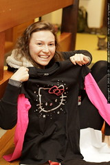 aunt megan unwraps a hello kitty t shirt as our kitt…