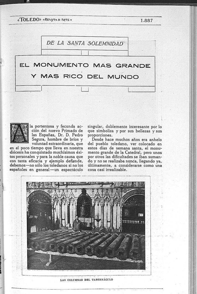 Reportaje sobre el Monumento de la Catedral de Toledo obra de Ignacio Haan publicado en abril de 1928 en la Revista Toledo. Página 1