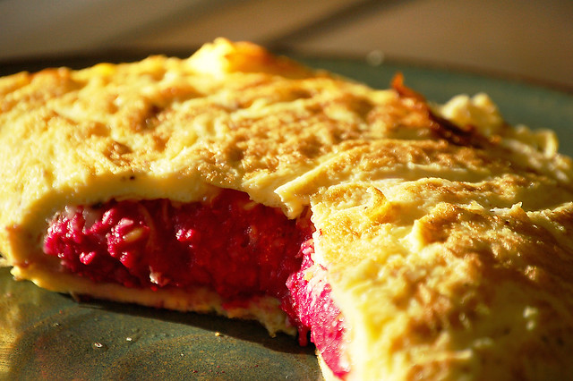 Beet Puree Omellette with Parmesian Cheese