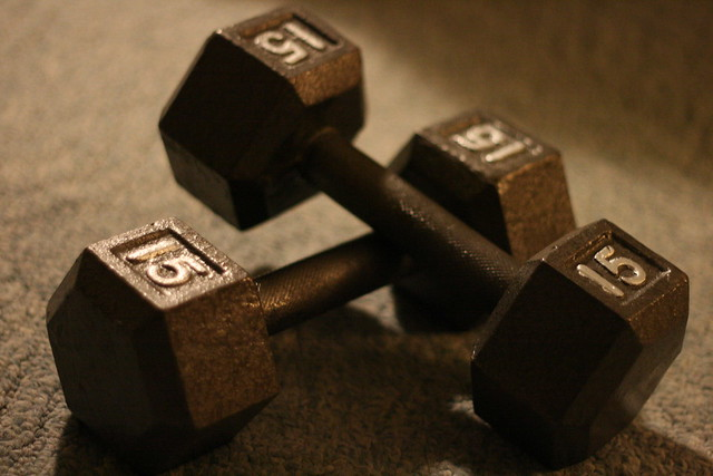 Free weights on the floor.