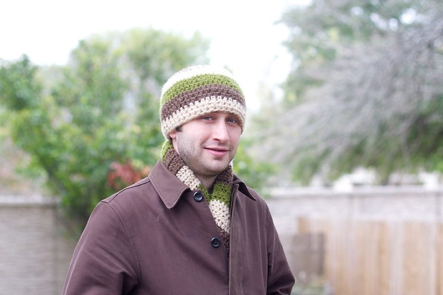Jason's crocheted scarf and hat