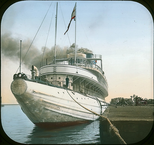 Whaleback S. S. Christopher Columbus at dock, Sault St. Marie(?), ON, about 1890