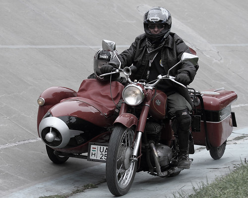 Pannonia motorcycle with sidecar and trailer