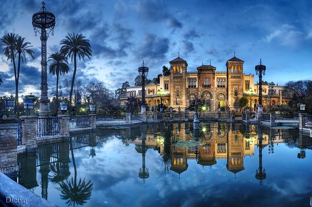 Palacio Mudejar en la Plaza de América del Parque de Maria Luisa (Sevilla, Andalusia, Spain)