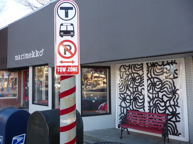 Huron Village - Marimekko + bus stop, Cambridge, MA.