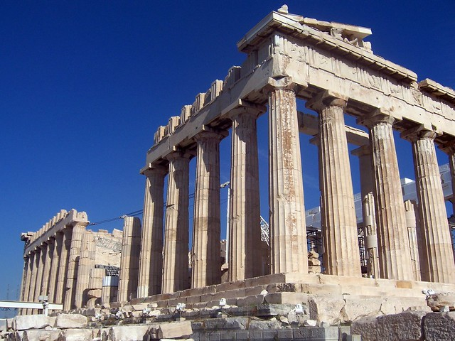 The southern side of the Parthenon, which sustained considerable damage in the 1687 explosion, Acropolis of Athens