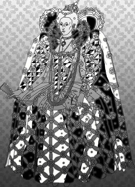 Queen Elizabeth 1 Black And White http   www flickr com photos net    Queen Elizabeth 1 Black And White