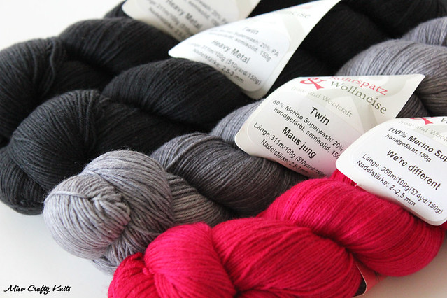 Black, Grey, and Hot Pink Yarn