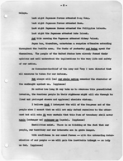 Transcript of Message to Congress Requesting Declaration of War Against Japan, 12/08/1941 (page 2 of 3)