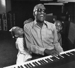 Ray Charles and grandchildren, Los Angeles 1991, by Harry Benson