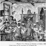 "An illustration showing sweatshop conditions.  Caption reads, ""Report, N.Y. Bureau of Statistics of Labor, 1885.  Cloak shop on the top floor of 12 Hester St."""