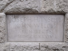 Photo of Joseph Hansom and John Welch stone plaque