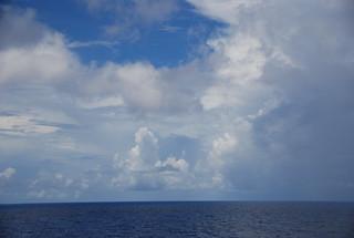 Clouds at sea, leaving the Ocho Rios, Jamaica harbor -- Panama Canal Trip 10-8-10