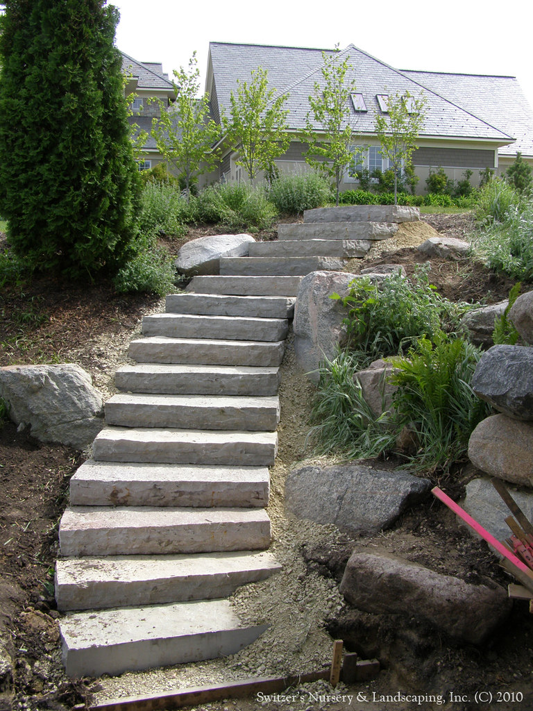Natural Stone Stairs : Hardscape installation chilton natural stone steps a