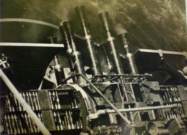 THE PACIFIC WAR: A 'Chicago Piano' -  HMAS SHROPSHIRE's eight-barrel pom-pom. Collection of Alan Meade, RAN 1943-1946.
