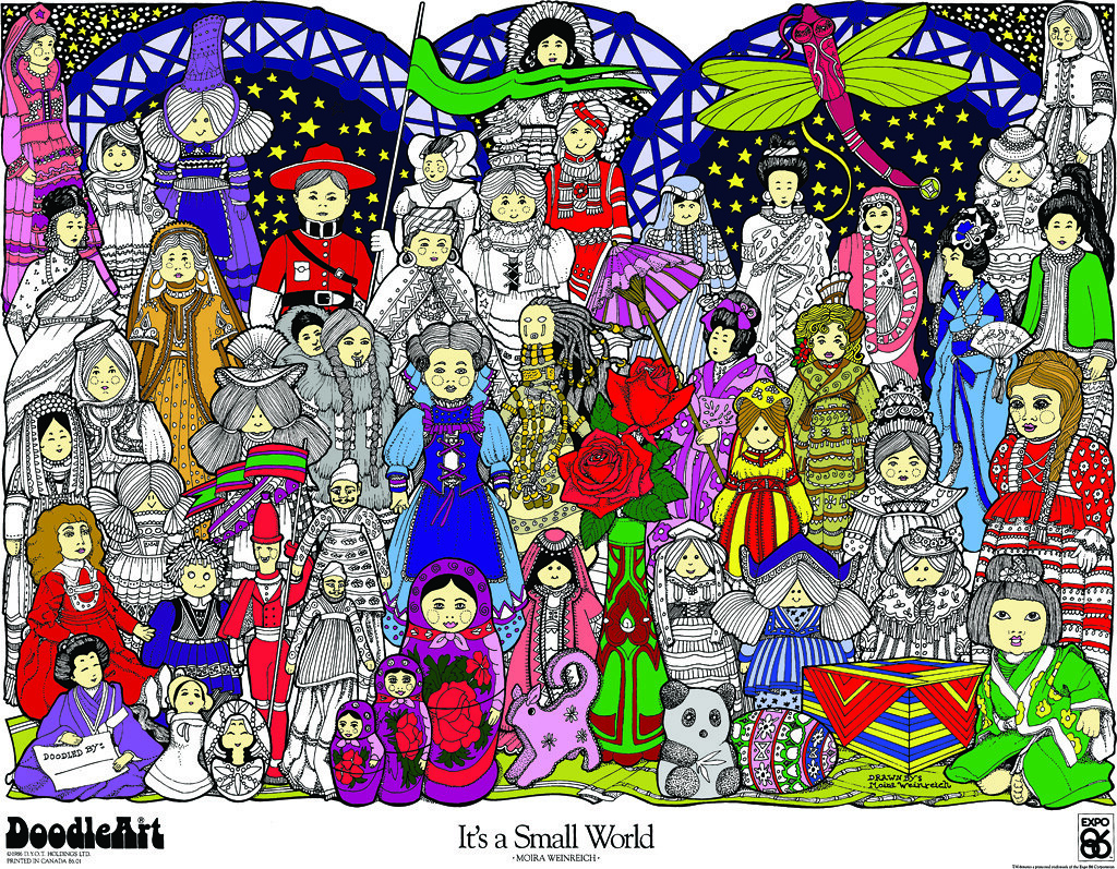 Doodle Art It\'s A Small World Coloring Page Poster | Flickr
