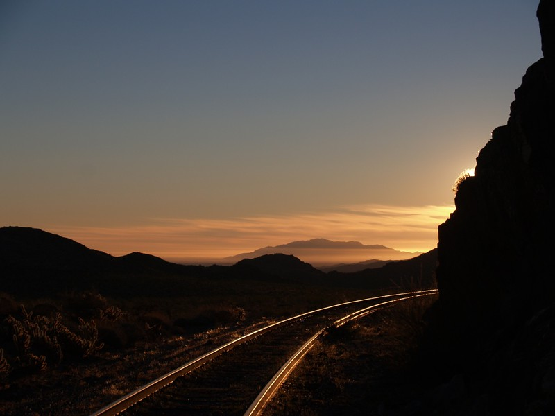 Sunrise on the tracks at the end of Dos Cabezas Road