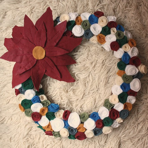 Felt Rose Wreath with Felt Poinsettia