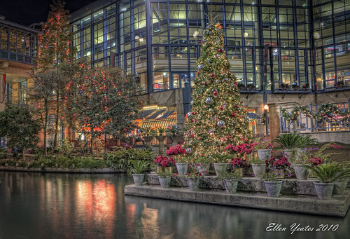 christmas travel winter light vacation holiday reflection tree water night canon mall river shopping photography ellen tour shot center scene tourist hdr riverwalk yeates
