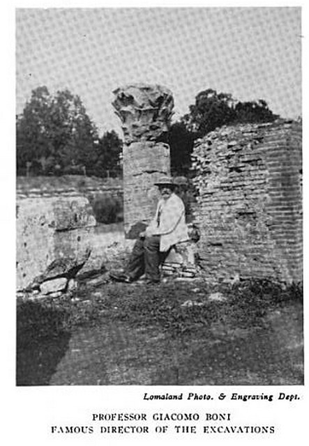 Rome - Prof. Giacomo Boni, the Palatine Hill, ca, 1914., Nicola Pascazio, The Recent Discoveries of the Palatine Hill, Rome. in: The Theosophical Path, Vol. VII, July - December 1914, pp. 97-101.