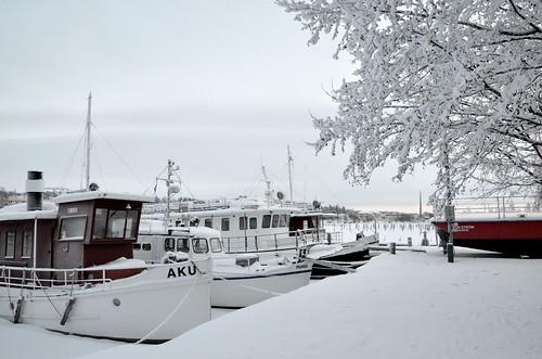 winter sunrise finland landscape boats boat fin kuopio