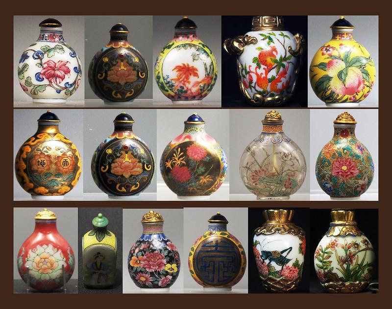 故宮料畫琺瑯鼻煙 壺 雜三件私人收藏 Snuff bottles . Taipei ,Palace museum,. plus 3 private collection,.