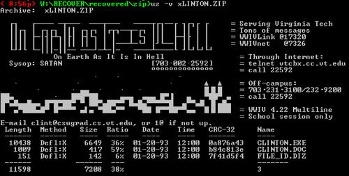 BBS ANSI art - 1 - On Earth As It Is In Hell - ASCII zip comment made from ANSI login screen