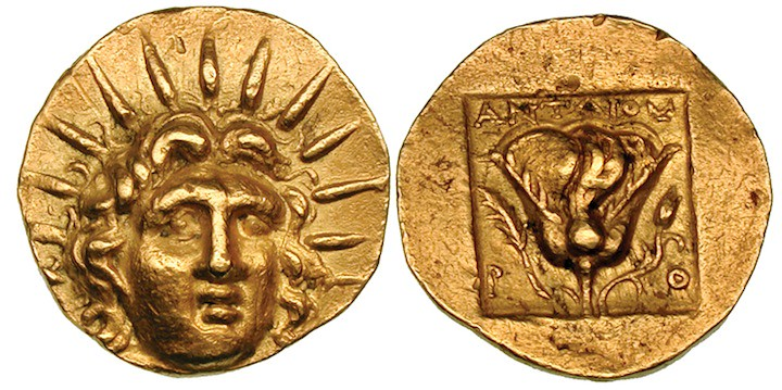 G325 An Exceptionally Rare Greek Gold Stater of Rhodes (Islands off Caria), of Extreme Rarity as Compared to the Prolific Minting of Silver and Bronze at Rhodes