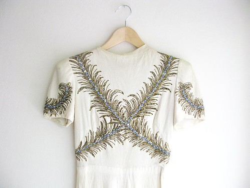 Vintage 1930's OLD HOLLYWOOD FEATHER Gown