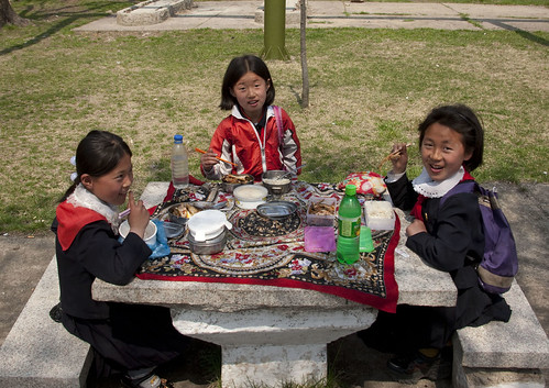 Picnic time for young pioneers - Pyongyang North Korea