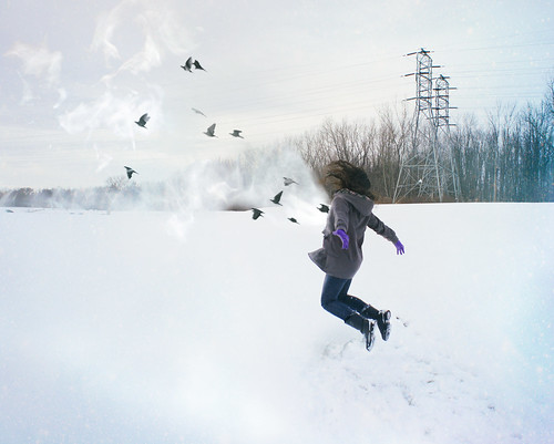 trees winter selfportrait snow cold ice girl field birds fog clouds photoshop self landscape flying jump jumping boots smoke sony explosion flight levitation manipulation editing barren explode isolated electrictowers sonynex3