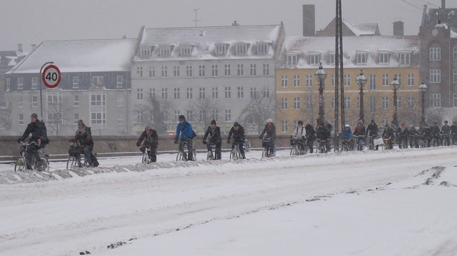 Copenhagen Winter Cycling - The Bridge Winter Traffic