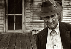 One of the few remaining inhabitants of Zinc, Arkansas, deserted mining town, by Ben Shahn 1935