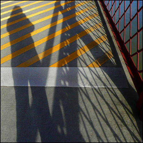 sunlight selfportrait color lines shadows contemporaryart patterns textures pdx railing crosswalk shining willametteriver selfie broadwaybridge hcs artdigital abigfave shockofthenew project52 focus52 52weeksproject awardtree amazingeyecatcher daarklands magicunicornverybest magicunicornmasterpiece paintedbythesun 1crzqbn clichesaturday thebigfivetwo 4522011 shadowsscavengerhuntcliche