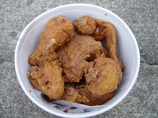 fried chicken in a bucket