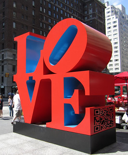 Illustration: LOVE sculpture with QR code