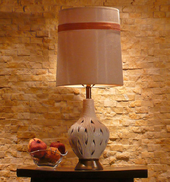 Vintage Pierced Ivory Ceramic Lamp with Shade  Flickr