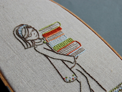 Girl with books embroidery pattern