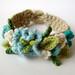 Crochet Turquoise Flowers Bracelet by meekssandygirl