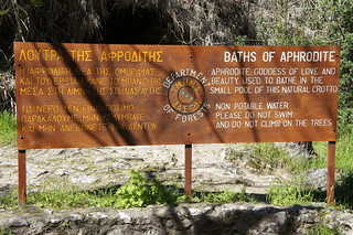 Aphrodite's Bath sign in Cyprus