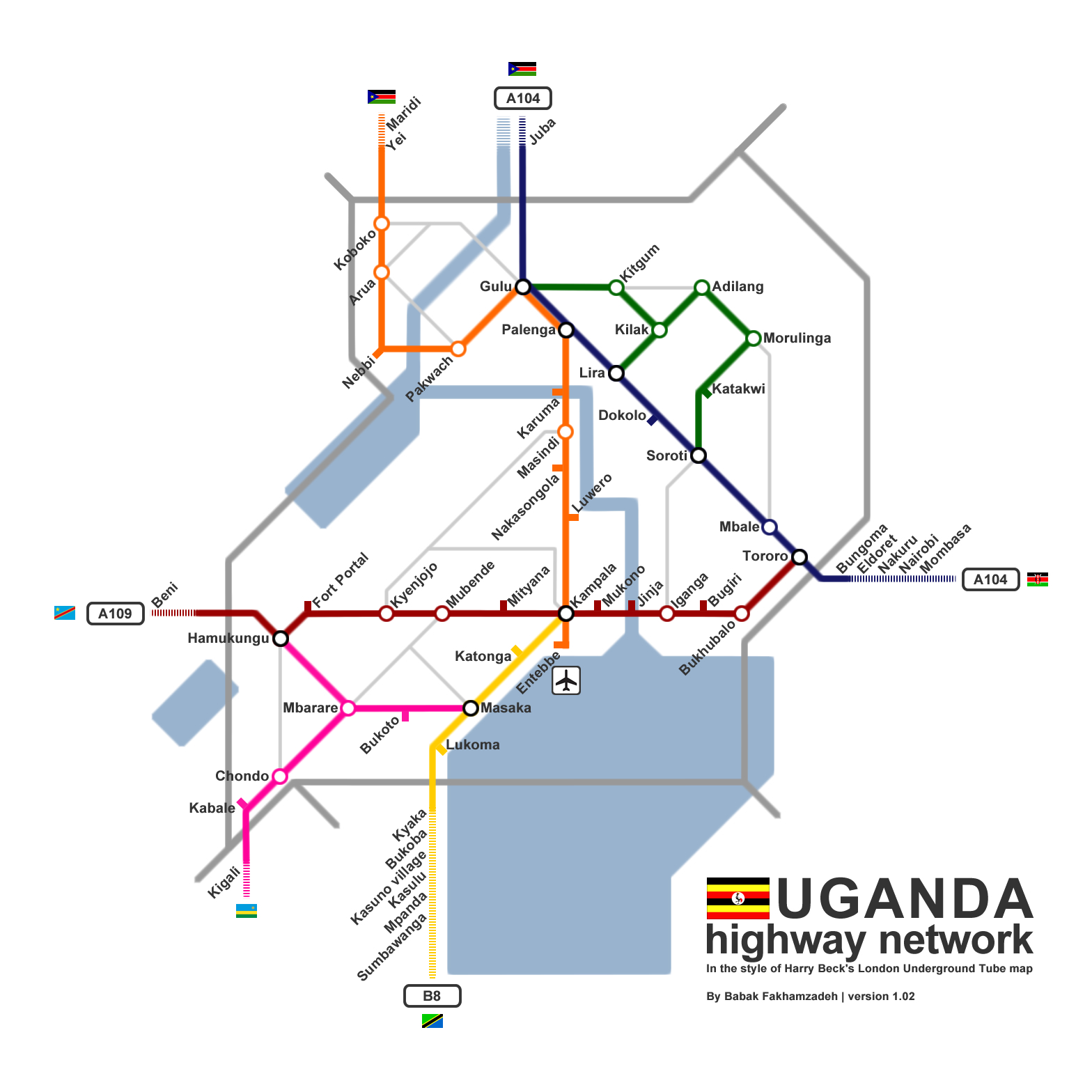 Uganda highway network