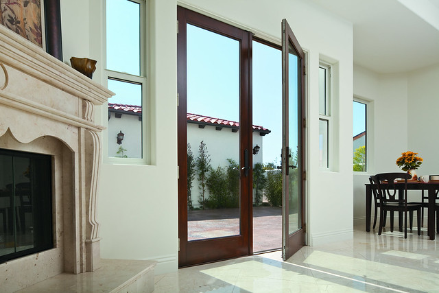 Frenchwood hinged patio door 100 series single hung for Single patio door with window