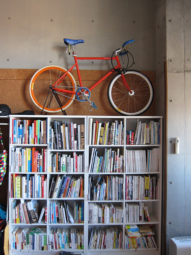 tokyobike on bookshelf