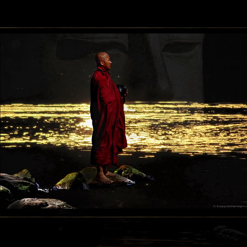 Monk at golden Lake