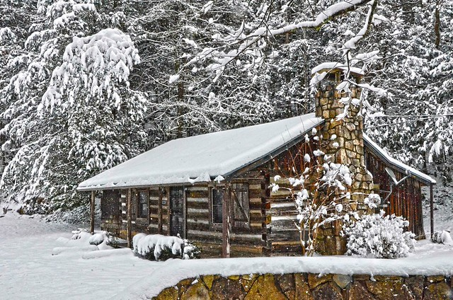 Snow covered cabin flickr photo sharing for Tennessee winter cabins